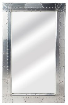 This unique wall mirror will stylishly enhance your space. Featuring an industrial chic aesthetic, it is hand crafted from shiny aluminium.