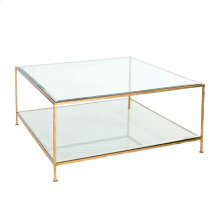 Hammered Gold Leaf Square Coffee Table With Beveled Glass Tops.