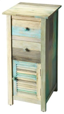 The Fiona accent chest enhances any bedroom or living space. The many colors of the Artifacts distressed finish bring a lightness and airy feeling to the room. The painted rustic features include two top drawers and a lower cabinet, perfect for tucking aw