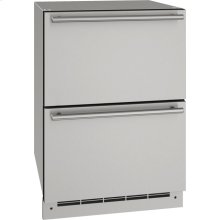 """Outdoor Collection 24"""" Refrigerator Drawers With Stainless Solid Finish and N/A Door Swing (115 Volts / 60 Hz)"""