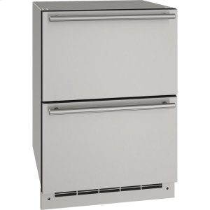 "U-LineOutdoor Collection 24"" Refrigerator Drawers With Stainless Solid Finish and N/A Door Swing (115 Volts / 60 Hz)"