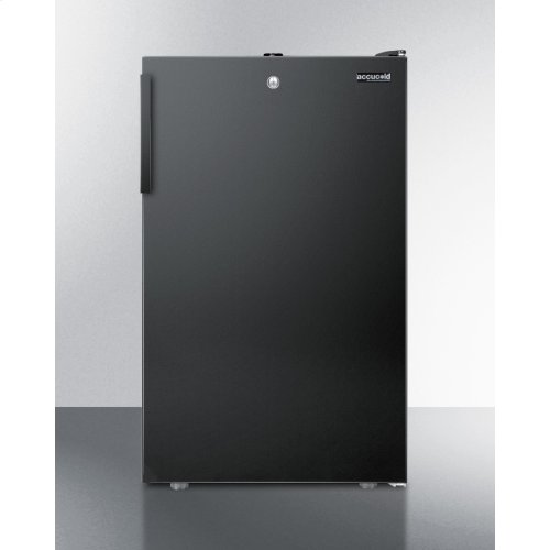 """Commercially Listed 20"""" Wide Built-in Refrigerator-freezer With A Lock and Black Exterior"""