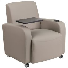 Gray Leather Guest Chair with Tablet Arm, Front Wheel Casters and Cup Holder
