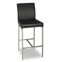 Phoenix Metal Barstool with Black Upholstered Seat and Stainless Steel Frame, 30-Inch