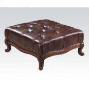 Dark Brown Leather Ottoman