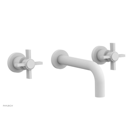 Basic Wall Tub Set - Blade Cross Handles D1137 - Satin White