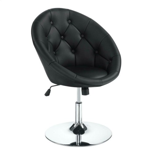 Pleasing Contemporary Black Faux Leather Swivel Accent Chair Ncnpc Chair Design For Home Ncnpcorg