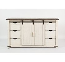 """Madison County 60"""" Barn Door Server - Vintage White Product Image"""