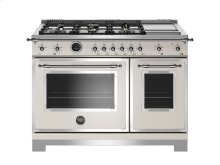 48 inch Dual Fuel Range, 6 Brass Burners and Griddle, Electric Self Clean Oven Ivory