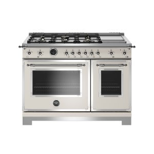 Bertazzoni48 inch Dual Fuel Range, 6 Brass Burners and Griddle, Electric Self Clean Oven Ivory
