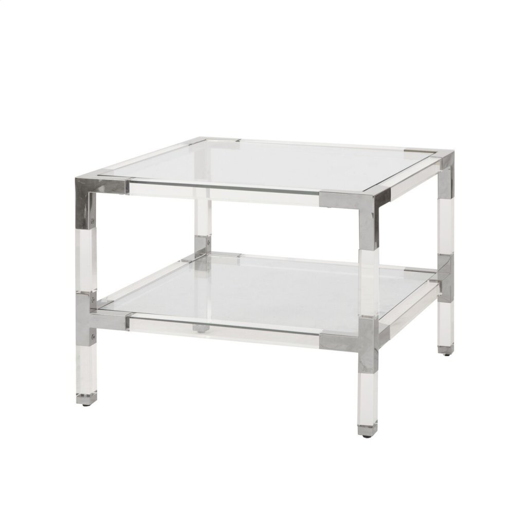 Two Tier Acrylic Side Table With Nickel Corner Details.