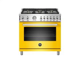 36 inch All Gas Range, 6 Brass Burners Yellow
