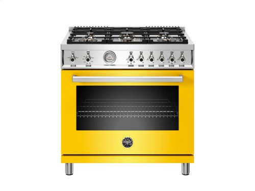36 inch All Gas Range, 6 Brass Burners Yellow