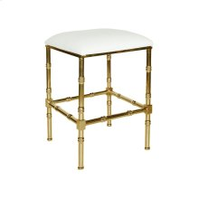 Brass Bamboo Counter Stool With White Pu Leather Cushion.