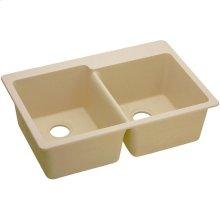 "Elkay Quartz Classic 33"" x 22"" x 9-1/2"", Offset Double Bowl Drop-in Sink, Sand"