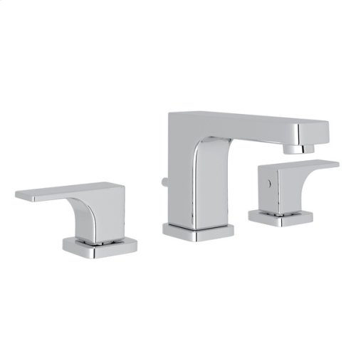 Polished Chrome Quartile High Neck Widespread Lavatory Faucet with Metal Lever