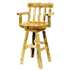 "Cedar Log Barstool with Back and Arms - 30"" Bar Height"