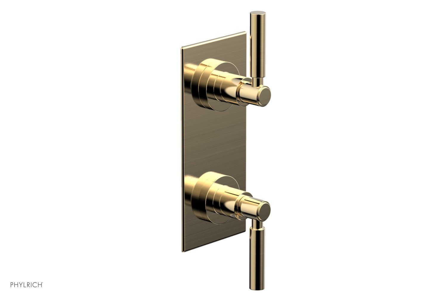 """BASIC 1/2"""" Thermostatic Valve with Volume Control or Diverter Lever Handles 4-344 - Satin Brass"""