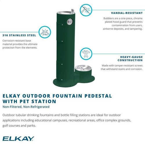 Elkay Outdoor Fountain Pedestal with Pet Station Non-Filtered, Non-Refrigerated Beige