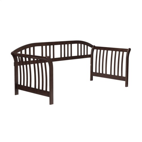 Somerville Wood Daybed Frame with Sleigh-Style Arms and Curved Back Panel, Espresso Finish, Twin