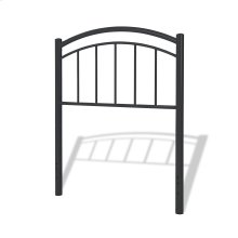 Rylan Fashion Kids Metal Headboard Panel with Gently Arced Top Rail and Vertical Spindles, Black Ink Finish, Twin