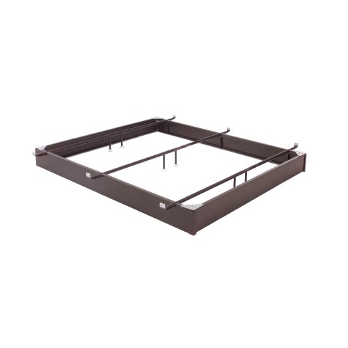 "Pedestal 1060 Bed Base with 10"" Brown Steel Frame and Center Cross Tube Support, Hotel King"