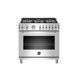 Bertazzoni36 inch All Gas Range, 6 Brass Burners Stainless Steel