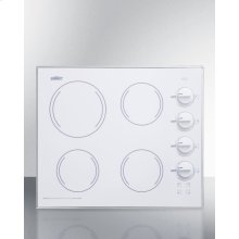 """24"""" Wide 4-burner Radiant Cooktop Made In the Usa, With One Large 8"""" Element and Three Standard Elements In Smooth White Ceramic Glass Finish"""