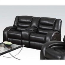 Black Loveseat W/console @n