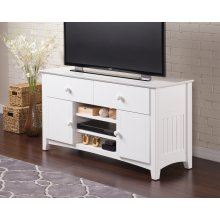 Nantucket 2 Drawer 50 inch Entertainment Console 26x50 with Adjustable Shelves in White