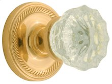 Nostalgic - Single Dummy Knob - Rope Rosette with Crystal Knob in Unlacquered Brass