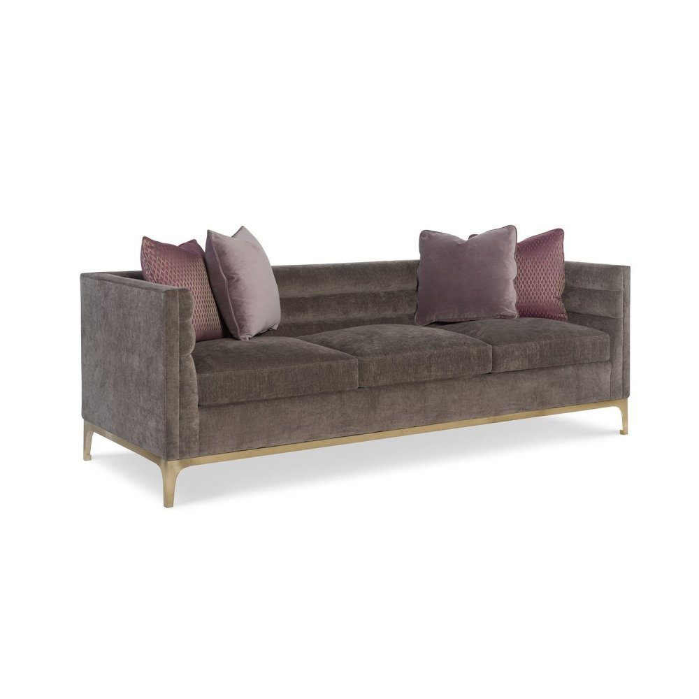 Manhattan Leather Channel Back Sofa