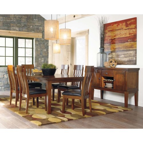 Ralene - Medium Brown- Butterfly EXT Table, 4 Chairs, 1 Bench