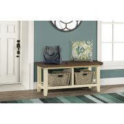Tuscan Retreat® Blanket Bench - Country White With Antique Pine Top Product Image