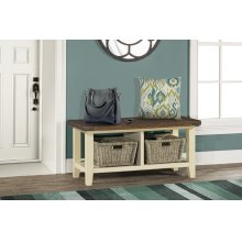 Tuscan Retreat® Blanket Bench - Country White With Antique Pine Top
