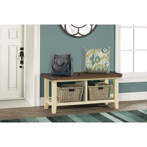 Hillsdale FurnitureTuscan Retreat(r) Blanket Bench - Country White With Antique Pine Top