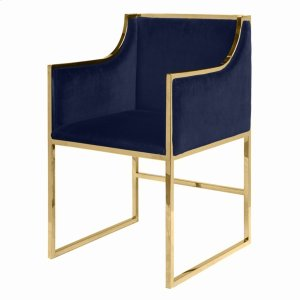 Worlds AwayNavy Velvet Dining & Occasional Chair With Brass Frame.