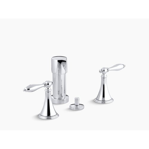 Vibrant Polished Nickel Vertical Spray Bidet Faucet With Lever Handles and Matching Handle Inserts