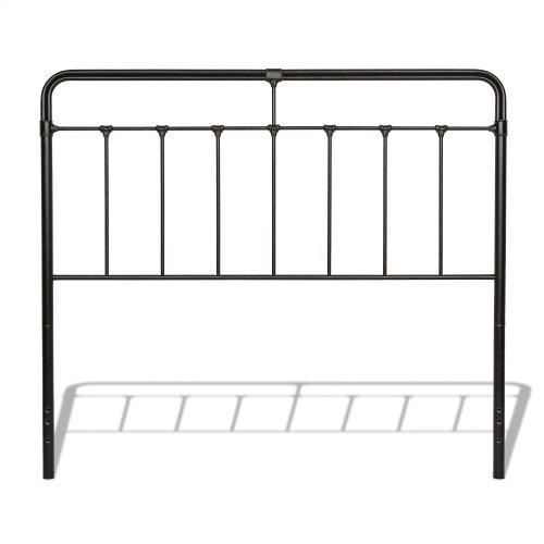 Fairfield Metal Headboard and Footboard Bed Panels with Spindles and Intricate Castings, Dark Roast Finish, King