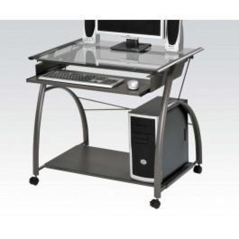 Pewter Computer Desk W Gl Top