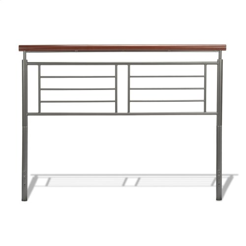 Fontane Metal Headboard and Footboard Bed Panels with Geometric Grills and Rounded Cherry Wood Color Top Rails, Silver Finish, Queen