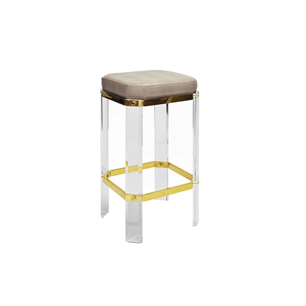 Acrylic Counter Stool With Brass Accents & Brown Shagreen Cushion