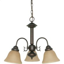 3-Light Mahogany Bronze Chandelier with Champagne Linen Glass