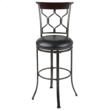 Tallahassee Swivel Seat Bar Stool with Heritage Silver Finished Metal Frame and Black Faux Leather Upholstery, 30-Inch Seat Height