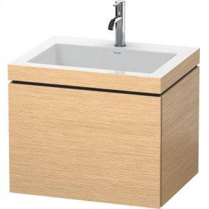 Furniture Washbasin C-bonded With Vanity Wall-mounted, Brushed Oak (real Wood Veneer)