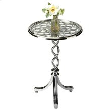 A braided pedestal, swooping legs and alluring web top give this accent table a lot of shimmering verve. Crafted from cast aluminum, tempered glass and iron components.