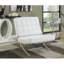 White and Chrome Accent Chair