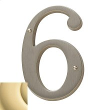 Non-Lacquered Brass House Number - 6