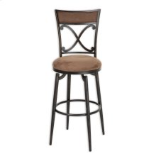 Montgomery Metal Barstool with Cocoa Microfiber Swivel-Seat and Blackened Bronze Frame Finish, 30-Inch