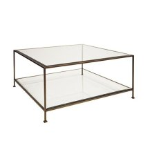 Painted Bronze Square Coffee Table With Beveled Glass Tops